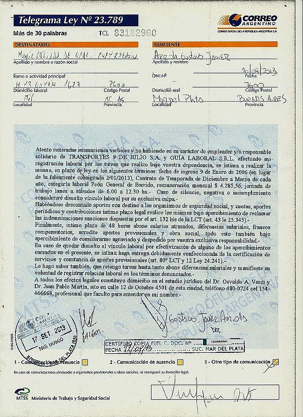 Carta-documento dirigida a la municipalidad de Gral. Pueyrredón