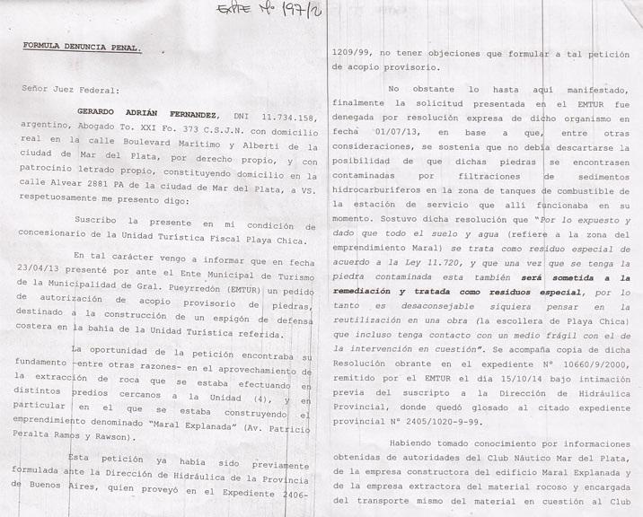 folio 1 y 2 de la denuncia penal