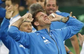 Argentina's Juan Martin Del Potro celebrates with team mates after Federico Delbonis defeated Croatia's Ivo Karlovic in their Davis Cup finals tennis singles match in Zagreb, Croatia, Sunday, Nov. 27, 2016. Argentina defeated Croatia 3-2 in the Davis Cup final.(AP Photo/Darko Bandic)