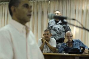 08 02 201 - Tribunales de Moron, Provincia de Buenos Aires, Argentina. Leonardo Jara declara en  el juicio por privacion ilegitima de la libertad seguida de muerte por el crimen de Candela Rodriguez, asesinada en agosto de 2011 despues de estar secuestrada 9 dias.  En la sala de audiencias permanecen tambien los sospechosos Hugo Bermudez (remera blanca) y Fabian Gomez (remera blanca estampada). FOTO PEDRO LAZARO FERNANDEZ