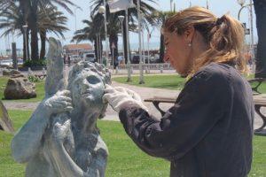 La Municipalidadtrabaja en la restauración de otra pieza escultórica