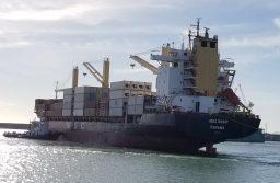 Nuevo barco en la escala de los porta contenedores