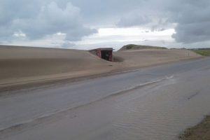 La tormenta movió un médano y piden circular con precaución en Ruta 11