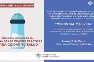El Municipio realizará una actividad de concientización sobre la importancia de reducir el consumo de sal