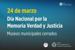 Por el Día Nacional de la Memoria por la Verdad y la Justicia:  Los museos municipales permanecerán cerrados este sábado