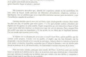 El papa Francisco envió una carta a todos los argentinos