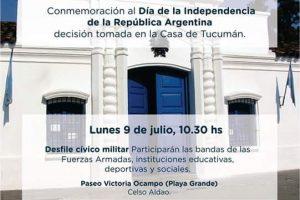 El desfile cívico militar por el día de la independencia será en el paseo Victoria Ocampo