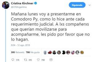 Cristina Kirchner se presenta en Comodoro Py y pidió a la militancia que no la acompañe