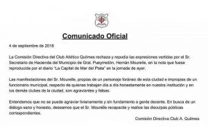 Respuesta del Club Quilmes a los dichos de Mourelle