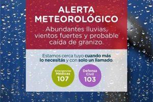Alertas por abundantes lluvias, vientos fuertes y probable caída de granizo