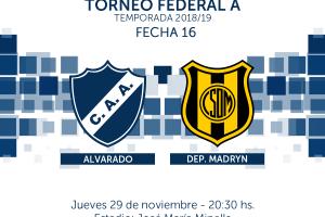 Alvarado espera por Deportivo Madryn con muchas bajas