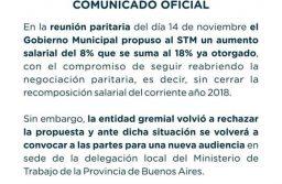 El gobierno municipal propuso al STM un 8% que se suma 18% ya otorgado