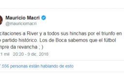 El saludo de Mauricio Macri a River por la consagración en la Copa Libertadores