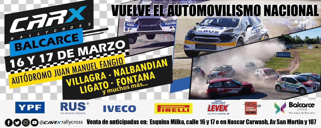 Vuelve el automovilismo nacional a Balcarce:El Rallycross CARX arranca el campeonato en el autódromo Juan Manuel Fangio