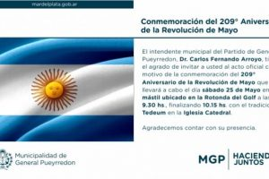 Actos oficiales por el 25 de Mayo: El Municipio realizará diferentes actividades en conmemoración al 209 aniversario de la Revolución de Mayo