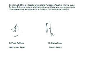 El parte médico de Jorge Lanata luego de haber sido internado por un cuadro de hipertensión