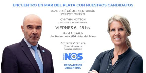 Gómez Centurión y Cynthia Hotton recorrerán Mar del Plata de cara a las elecciones generales