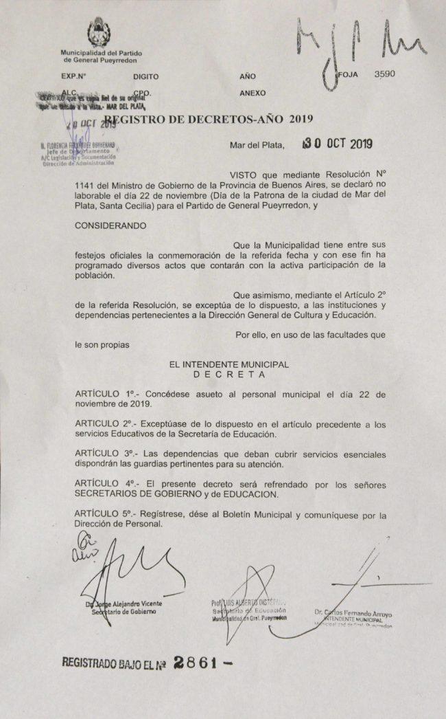 Arroyo decretó asueto municipal para el viernes 22 de noviembre