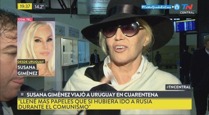 Susana Giménez se fue en un vuelo privado a Uruguay, a pesar de la cuarentena