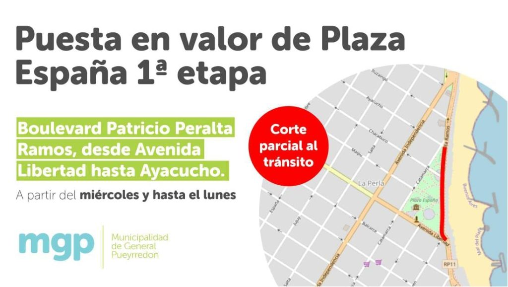 Obras en Plaza España: A partir del miércoles se interrumpirá el tránsito sobre Boulevard Patricio Peralta Ramos